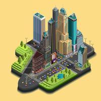Vector isometrischen Stadtplan 3d, Wolkenkratzerviertelteil Ikonen, die aus Gebäuden, Allee, Straßenkreuzungen bestehen.