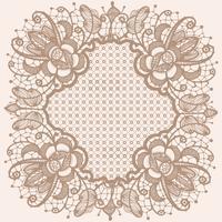 Abstraktes Spitzebandmuster mit Elementblumen. Schablonenrahmendesign für Karte. Spitzendeckchen.