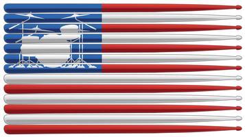 Schlagzeugerflagge mit Trommelsatz und Trommelstöcken lokalisierte Vektorillustration