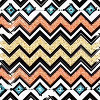 Nahtlose Muster mit blauen, schwarzen, goldenen, Zickzacklinien und Punkten, gestreift, Geschenkboxen und Punkten. vektor