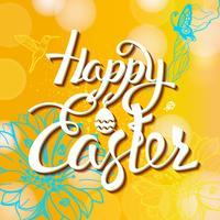 Glad påskskylt, symbol, logotyp på en gul bakgrund med blommorna. vektor