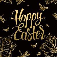 Glad påsk guld tecken, symbol, logotyp på svart bakgrund med blommor och fjäril. vektor