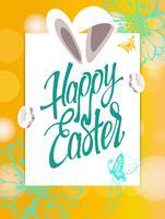Fröhliche Ostern unterzeichnen, Symbol, Logo auf einem gelben Hintergrund mit den Blumen.