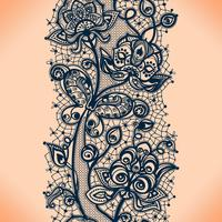 Abstrakt spetsband sömlöst mönster med elementblommor. Mallramdesign för kort.
