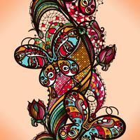 Abstrakt färg lacy mönster av elementen av blommor och fjärilar. Vector färgglada sömlösa bakgrund.