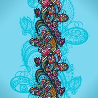 Abstraktes Farbspitzenmuster der Elemente von Blumen und von Schmetterlingen Bunter nahtloser Hintergrund des Vektors.