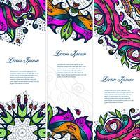 Vintage Farbspitze Blumensatz Banner für Ihre Designs. vektor