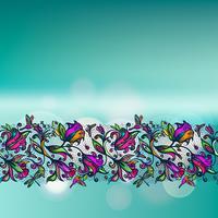 Spitzen- nahtloses Muster des abstrakten Farbvektors von Elementblumen und -schmetterlingen auf unscharfem Hintergrund mit bokeh Elementen.