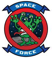 Rolig rymdstyrka Alien Cartoon Vector Illustration