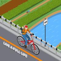 Handikappad person på cykelisometrisk illustration