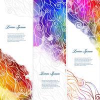Vektor färg abstrakt banderoller med vågor och plaska vattenfärger.