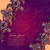 Abstraktes Farbspitzenmuster der Elemente der Blumen und der Schmetterlinge. Bunter Hintergrund des Vektors.