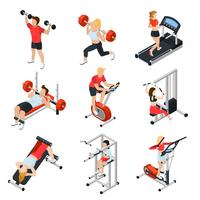 Fitnessstudio isometrische Set