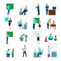 Lärare Människor Plana Färgade Ikoner Set