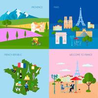 Frankreich Konzept Icons Set vektor