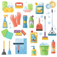 Cleaning SuppliesTools Flache Icons Set