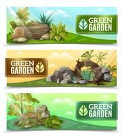 Landskap Garden Design Horisontell Banners Set vektor