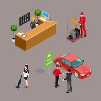 Hotelservice-isometrische Ikonen eingestellt vektor