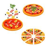 Pizza geschnittenes isometrisches Ikonen-Set vektor