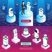 Roboter horizontale isometrische Banner