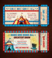 Circus Retro Tickets Banner gesetzt vektor