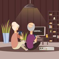 Moderne ältere Menschen und Technologie-Hintergrund