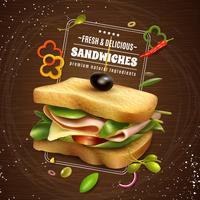 Frisches Sandwich-hölzernes Hintergrund-Anzeigen-Plakat vektor