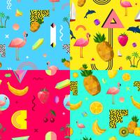Dekorativa färgglada sömlösa mönster uppsättning