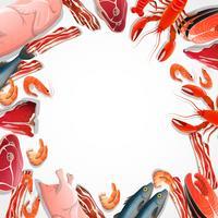 Dekorativer Rahmen aus Fleisch und Meeresfrüchten vektor