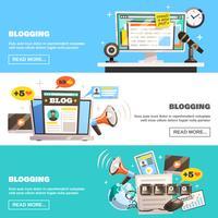 Blogging horizontale Banner gesetzt vektor