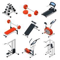 Gymutrustning Isometrisk uppsättning vektor