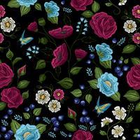 Blumenstickerei Nahtloses Muster vektor