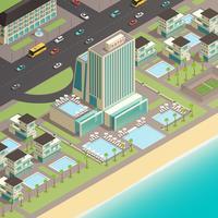 Multistory byggnad av lyxhotell i kustområdet