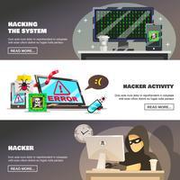 Nätverksbedrägeri Banners Set vektor