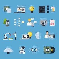 neurala nät nätverk dekorativa ikoner uppsättning vektor