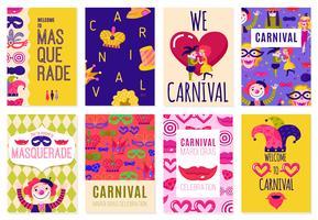 Set von acht Karneval-Plakaten vektor