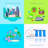 Flache Singapur Kultur Icon Set