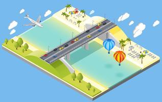 Brücken- und Strandurlaubsort-Illustration