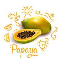 Kritzeleien um Papaya-Komposition
