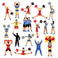 Fotbollsspelare Cheerleaders och Fans Set