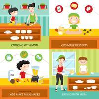 Kinder und Konzeptkonzept kochen vektor