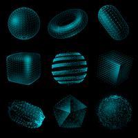 Geometrisk form 3D-teknik Stil ikonuppsättning vektor