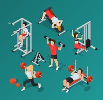 Gymmänniskors ikonuppsättning vektor