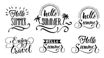 Hallo Sommer-Beschriftungssatz vektor