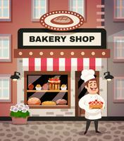 Bageri Shop Cartoon Illustration vektor