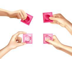 Kondom in der Hand realistischer Satz