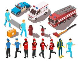 räddningstjänst isometrisk uppsättning