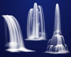 Realistische Wasserfälle gesetzt vektor