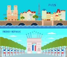 Frankrike Horisontell Banners Set vektor