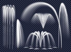 Realistiska fontäner på transparent bakgrundsset